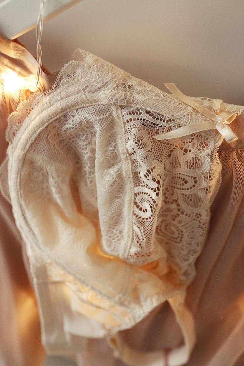 stanik koronkowy perłowy