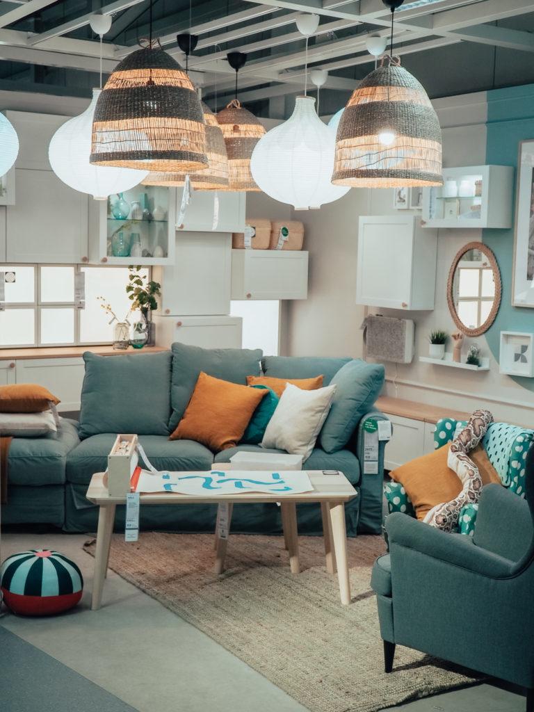 turkusowa sofa IKEA